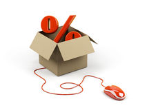 Cardboard box with percent sign. Royalty Free Stock Photo