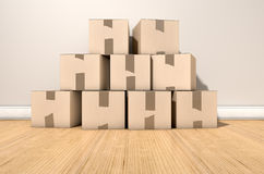 Cardboard Box Pile House Royalty Free Stock Photography