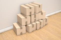 Cardboard Box Pile House Royalty Free Stock Image