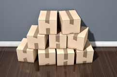 Cardboard Box Pile House Royalty Free Stock Images