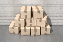 Cardboard Box Pile Industrial Stock Image