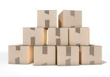Cardboard Box Pile Stock Photo