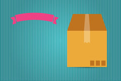 Cardboard box and pink ribbon Royalty Free Stock Photos