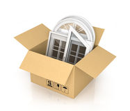 Cardboard box with plastic windows Stock Photography