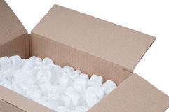 Cardboard box with polystyrene. Detail of a cardboard box with polystyrene Royalty Free Stock Image