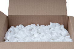 Cardboard box with polystyrene Stock Image