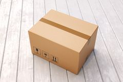 Cardboard box on porch floor. In front of entrance door. Doorstep parcel delivery, free shipping, and online shopping concept. 3D illustration Royalty Free Stock Photo