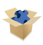 Cardboard box with puzzle Royalty Free Stock Photos