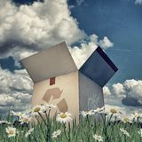 Cardboard box with recycle sign Royalty Free Stock Image