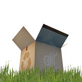 Cardboard box with recycle sign Royalty Free Stock Images