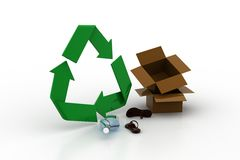 Cardboard box with recycle sign Royalty Free Stock Photography