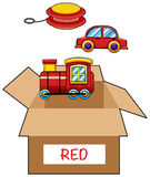 Cardboard box for red toys Stock Photography