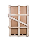 Cardboard box with a reinforcement of wood transport. Royalty Free Stock Images