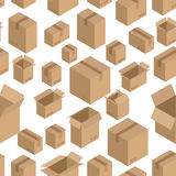 Cardboard box seamless pattern. Paper packaging background.  Stock Photo