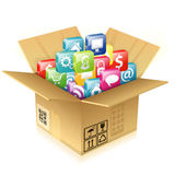 Cardboard Box with Set of Icons Royalty Free Stock Images