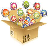 Cardboard Box with Set of Icons Stock Image