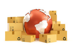 Cardboard box shipping and worldwide delivery business concept, earth planet globe. 3d rendering. Elements of this image Stock Photo