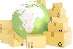 Cardboard box shipping and worldwide delivery business concept, earth planet globe. 3d rendering. Elements of this image Stock Photos