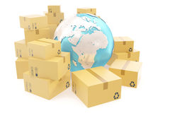 Cardboard box shipping and worldwide delivery business concept, earth planet globe. 3d rendering. Elements of this image Royalty Free Stock Photography