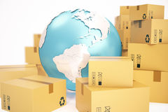 Cardboard box shipping and worldwide delivery business concept, earth planet globe. 3d rendering. Elements of this image. Cardboard box shipping and worldwide royalty free stock photography