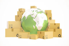 Cardboard box shipping and worldwide delivery business concept, earth planet globe. 3d rendering. Elements of this image. Cardboard box shipping and worldwide Royalty Free Stock Photo