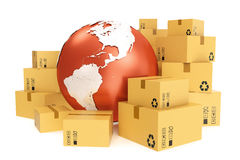 Cardboard box shipping and worldwide delivery business concept, earth planet globe. 3d rendering. Elements of this image. Cardboard box shipping and worldwide Stock Image