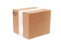 Cardboard box with signs isolated on white Stock Image