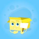 Cardboard Box Smile Face Yellow Cartoon Character Royalty Free Stock Image