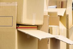 Cardboard Box Stack Royalty Free Stock Images