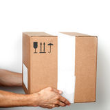 Cardboard box with standard signs in male hands Royalty Free Stock Image