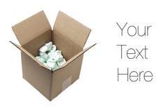 Cardboard box with styrofoam peanuts Stock Photo