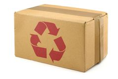 Cardboard box with symbol Royalty Free Stock Photography