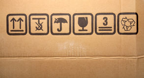 Cardboard box symbols Royalty Free Stock Photography