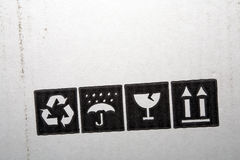 Cardboard box symbols Stock Photo