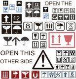 Cardboard box symbols stock illustration