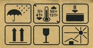 Cardboard box symbols Stock Image