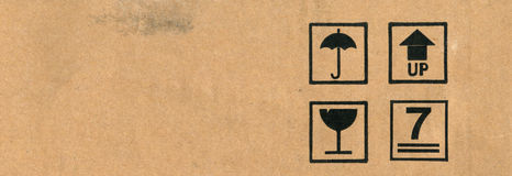 Cardboard box symbols Stock Photos