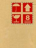 Cardboard box symbols Royalty Free Stock Images