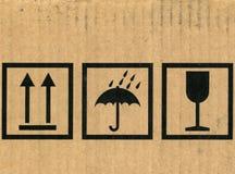 Cardboard box symbols stock photo