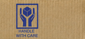 Cardboard box symbols. Fine image close-up symbol on cardboard Royalty Free Stock Photos