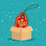 Cardboard box tag price big offer sale with star blue background. Illustration eps 10 Royalty Free Stock Photos