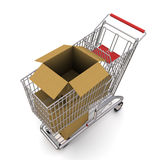 Cardboard box in the trolley Stock Photography