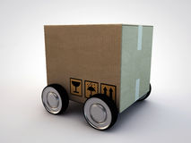 Cardboard box with wheels Stock Photo