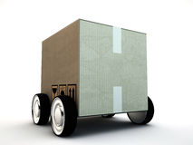 Cardboard box with wheels Royalty Free Stock Photos