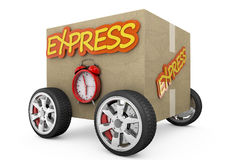 Cardboard box with wheels - express concept Royalty Free Stock Photography