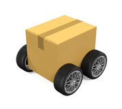 Cardboard Box on Wheels Royalty Free Stock Image
