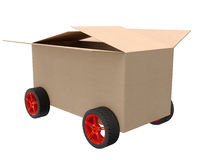 Cardboard box on wheels Stock Image