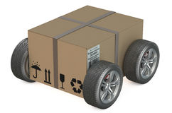 Cardboard box with wheels - shipping concept Stock Photography