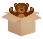 Cardboard box whit teddy bear Stock Photography
