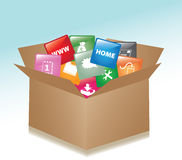 Cardboard box whit web buttons Stock Photography